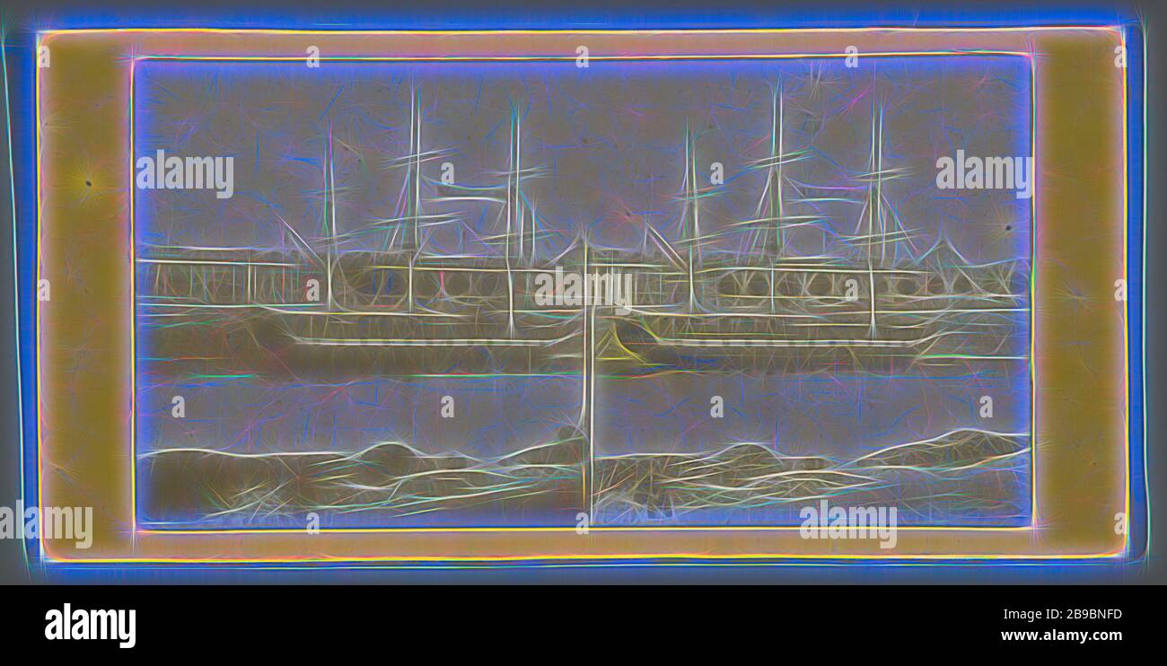 Design Bank Twist.Sailing Ship On River Bank In City Anonymous 1855 1865