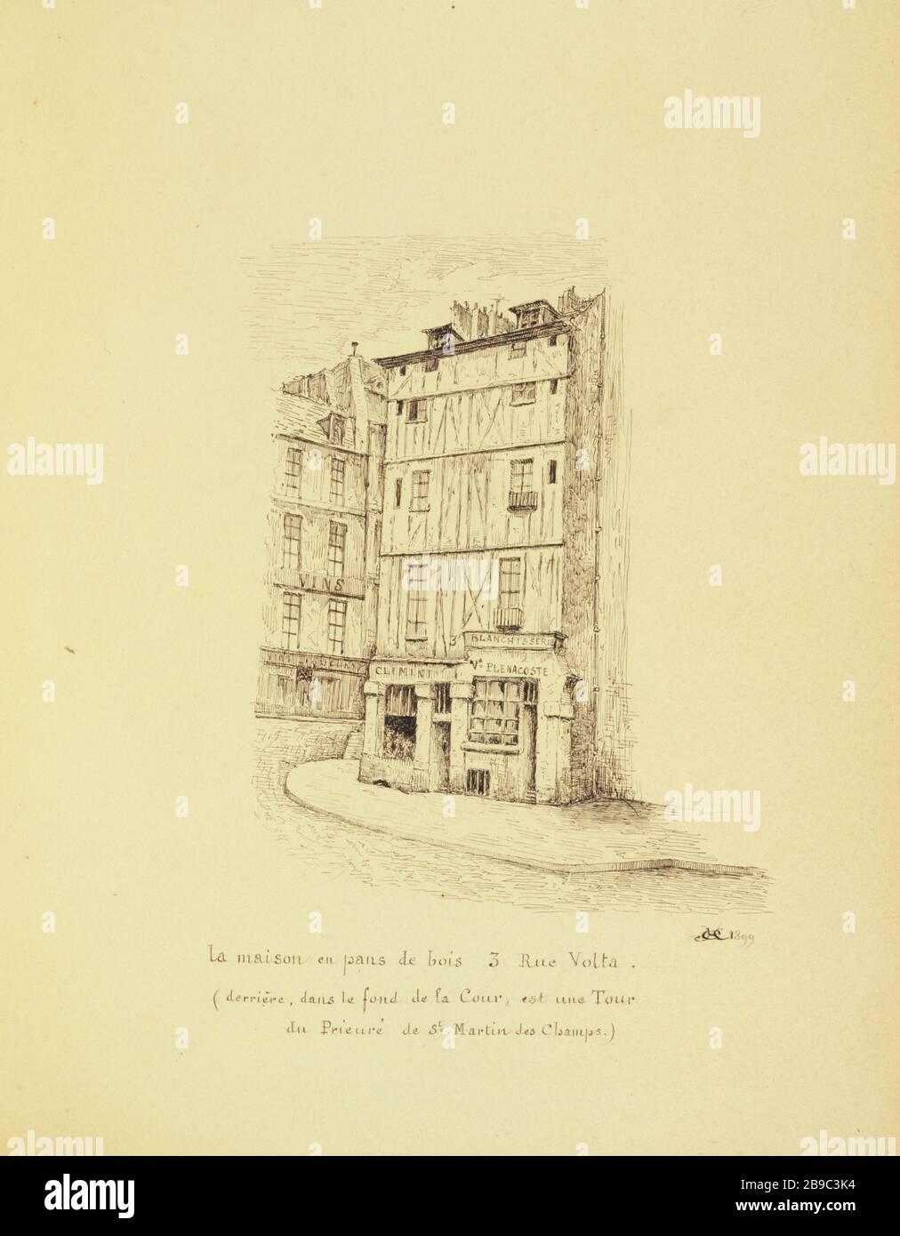 Old Paris The Half Timbered House 3 Rue Volta 1899 Henri Chapelle 1850 1925 Dessinateur Francais