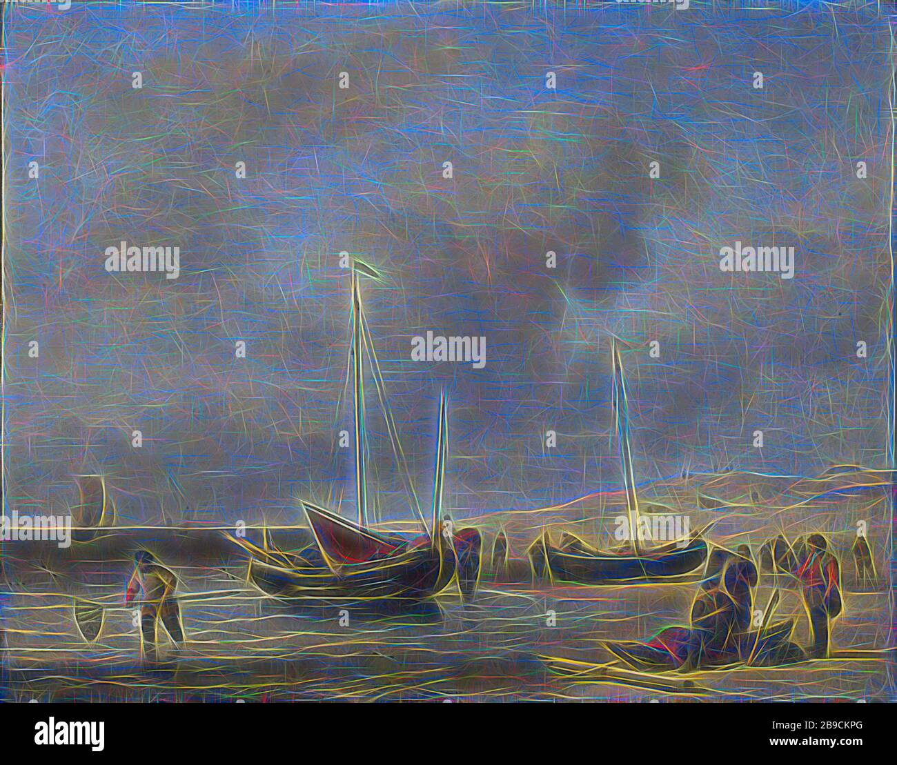 """Oil painting on wood panel /""""Boats/"""" 2.8 x3.6/"""" x 10 ea"""