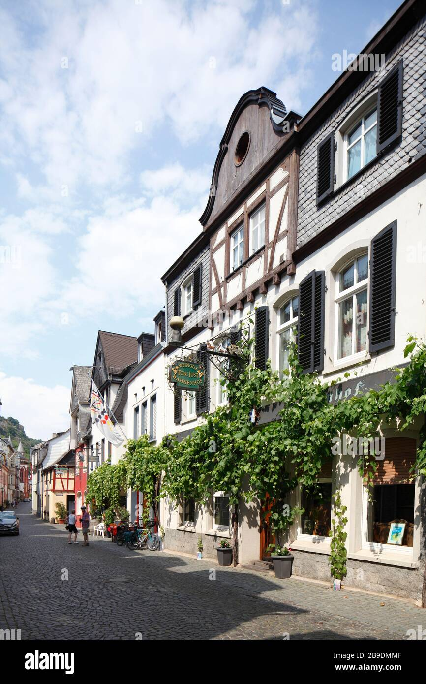 Historic house facades in the old town, Bacharach am Rhein, Rhineland-Palatinate, Germany Stock Photo
