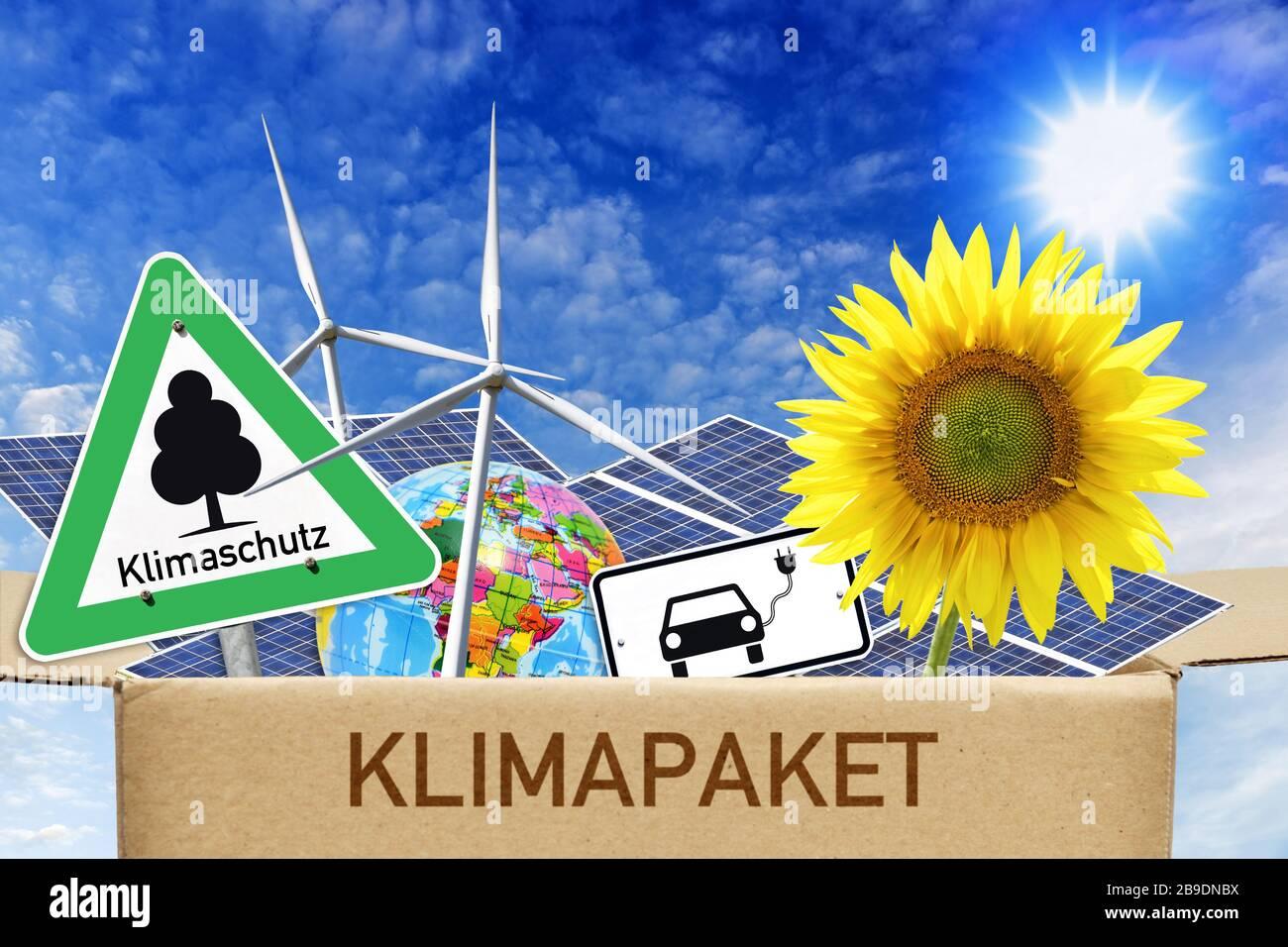 PHOTOMONTAGE, climate package, symbolic photo, FOTOMONTAGE, Klimapaket, Symbolfoto Stock Photo