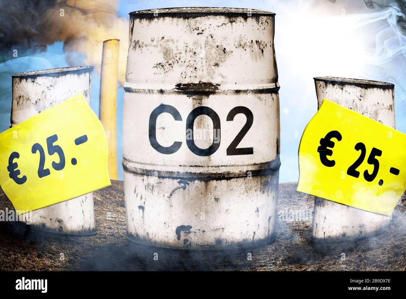 PHOTOMONTAGE, tonnes with label CO2 and prize etiquettes, symbolic photo CO2-Bepreisung and CO2 tax, FOTOMONTAGE, Tonnen mit Aufschrift CO2 und Preise Stock Photo