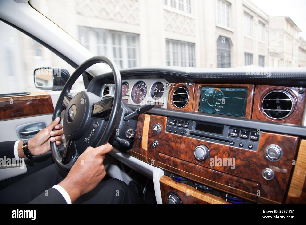 Bordeaux Aquitaine France 11 07 2019 Rolls Royce Phantom Interior View Of Luxury Car Dashboard Steering Wheel Supercar With Driver Stock Photo Alamy