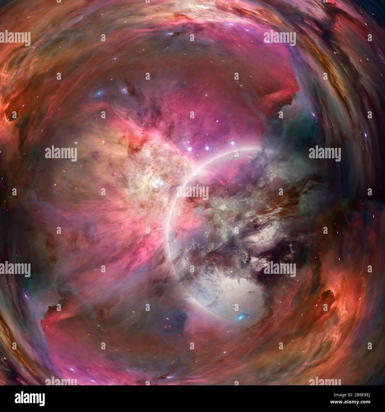 Space warp. Mystic bright planet in vivid universe. Stock Photo
