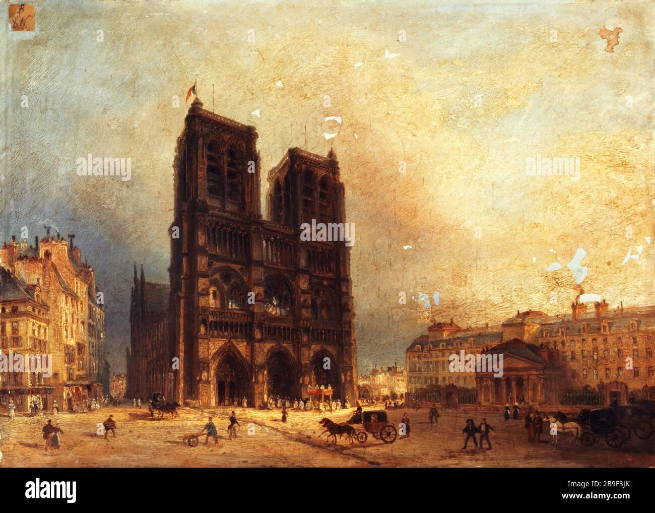 """THE SQUARE OF OUR LADY, TO 1835 Attribué à Domenico Ferri (1795-1878). """"Le parvis de Notre-Dame, vers 1835"""". Huile sur toile. Paris, musée Carnavalet. Stock Photo"""