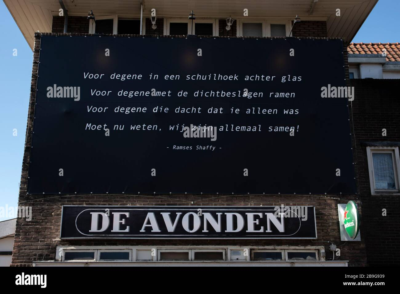 Billboard Cafe De Avonden With Text From Ramses Shaffy At Amsterdam The Netherlands 2020 Stock Photo