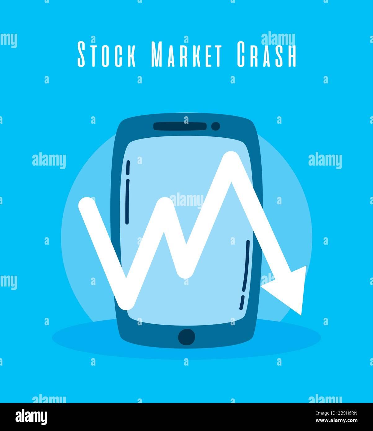Smartphone Amd Arrow Down Stock Market Crash Stock Vector Image Art Alamy