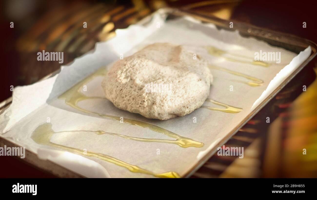horizontal pizza dough background italian cookery bakin sheet olive oil homemade rustic  Stock Photo