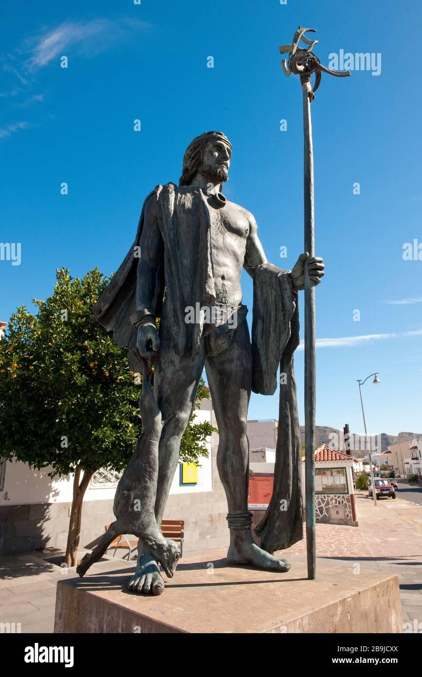 Statue Guanche, Santiago del Teide Stock Photo