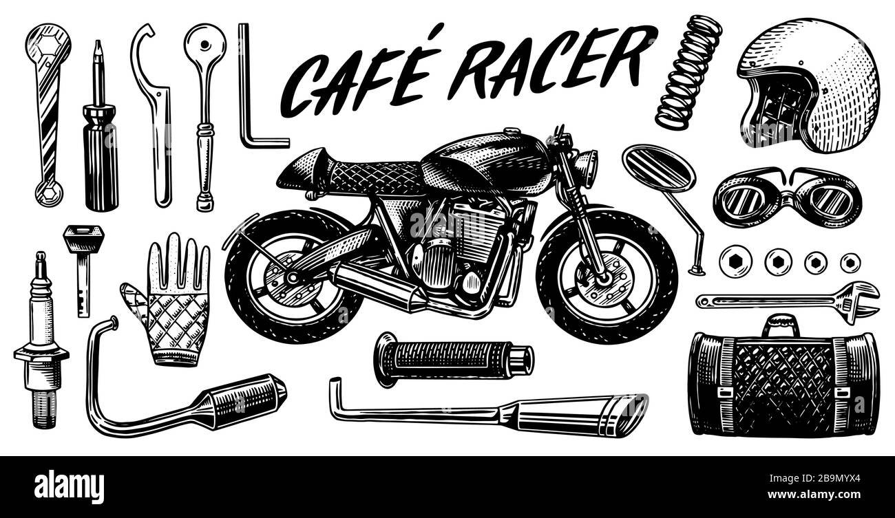 Motorcycle Repair Set Of Tools For The Cafe Racer Bike Gloves Helmet Instruments For Motor Bicycle Mending And Renovation Of Vehicles Hand Drawn Stock Vector Image Art Alamy