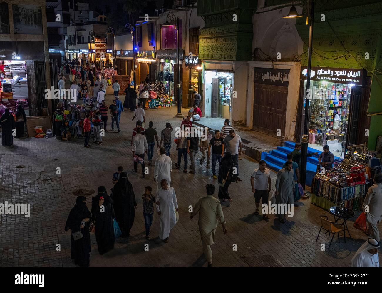 view of historic district of the historic district of Jeddah, Saudi Arabia in the evening Stock Photo
