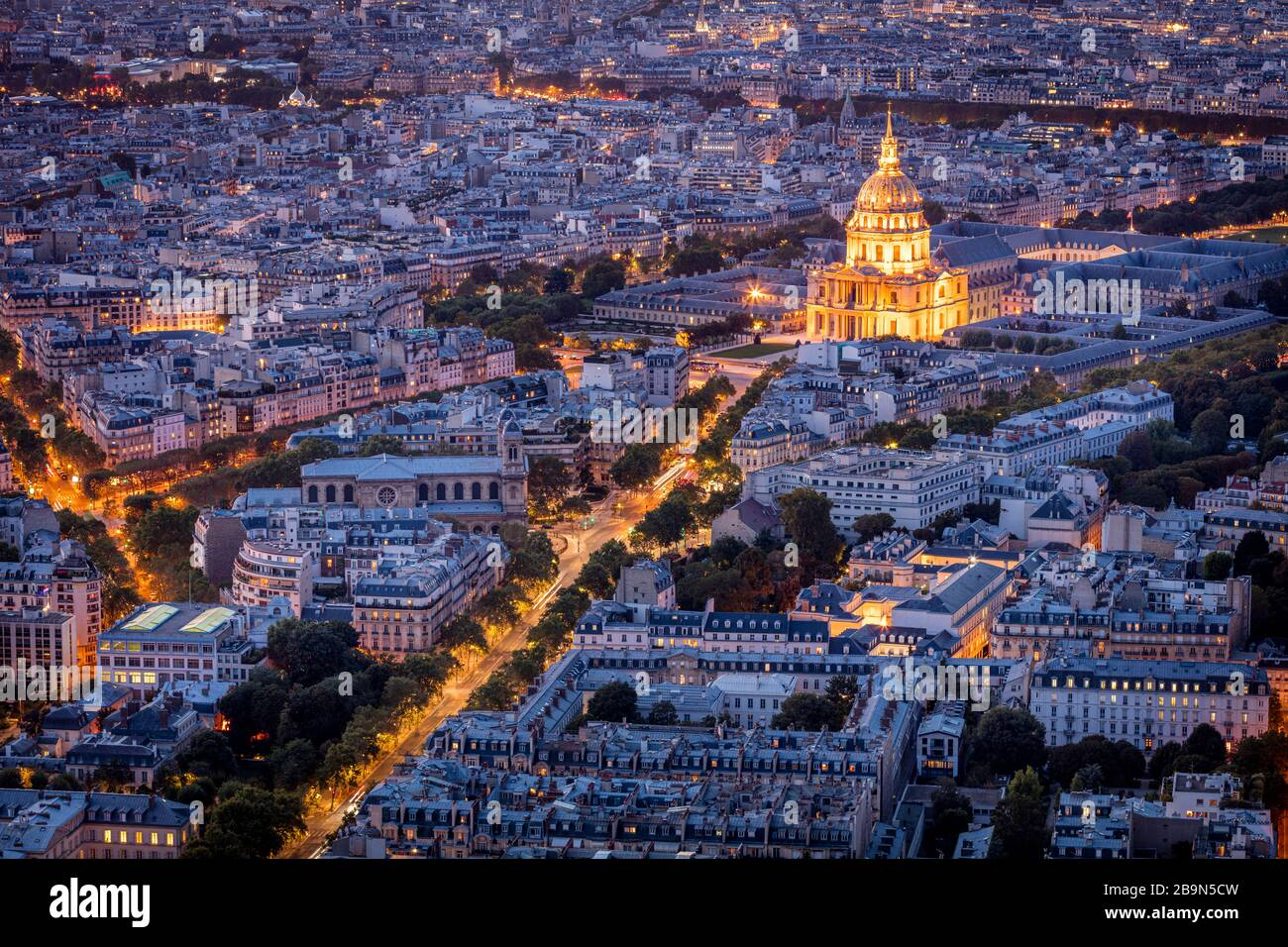 Overhead view of Eglise Saint Louis and city of Paris, France Stock Photo