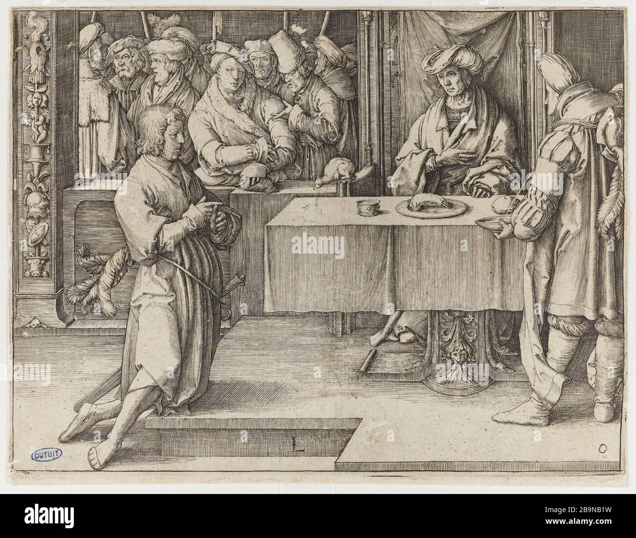 """The Story of Joseph, 5 boards - 5. Joseph interpreting Pharaoh's dreams - Bartsch 23 Lucas de Leyde (1494-1533). """"L'Histoire de Joseph"""" : 5 planches - 5. """"Joseph interprétant les songes de Pharaon"""" - Bartsch 23. Burin. 1512. Musée des Beaux-Arts de la Ville de Paris, Petit Palais. Stock Photo"""