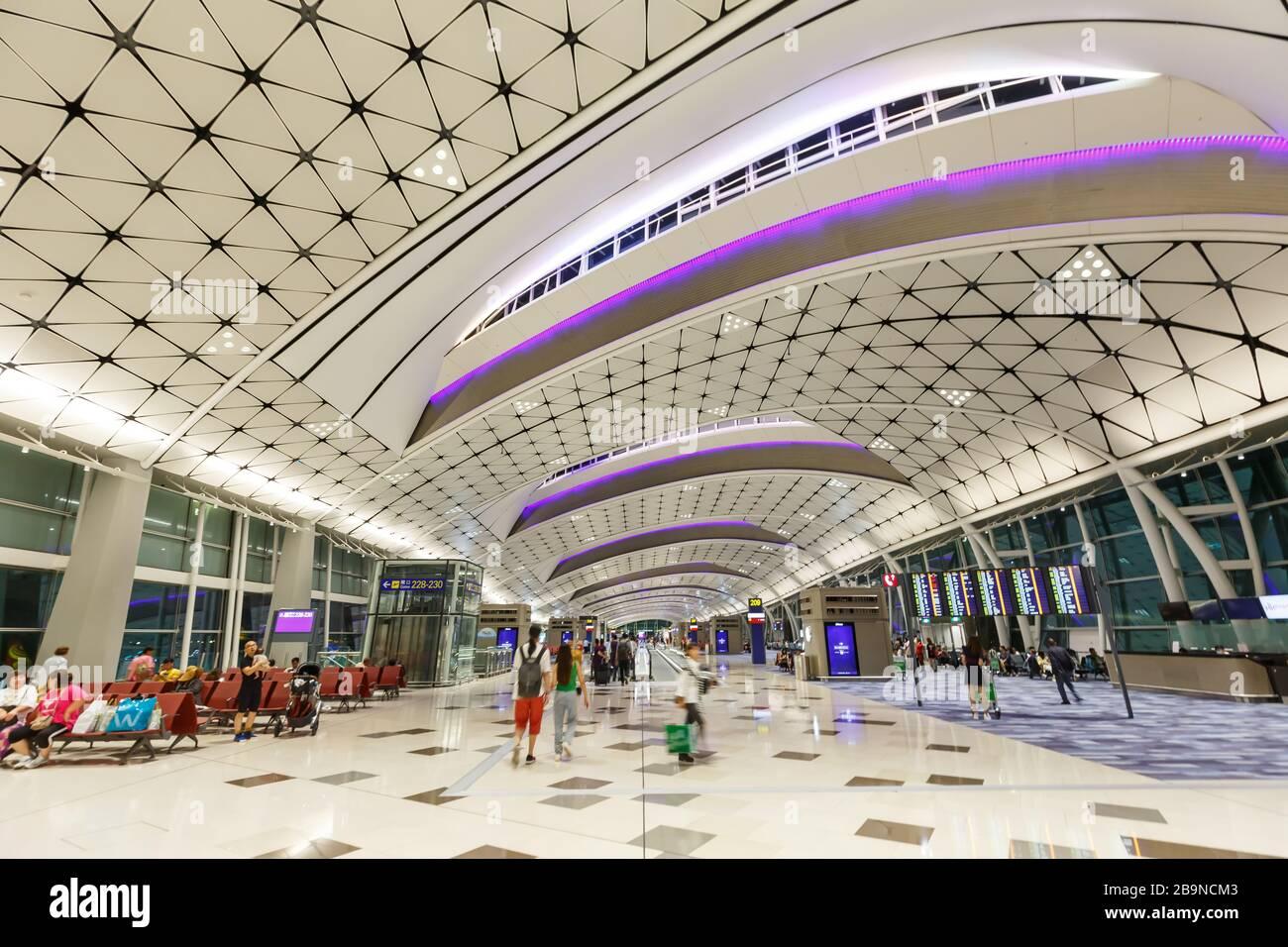 Hong Kong, China – September 20, 2019: Midfield Concourse Terminal of Hong Kong airport (HKG) in China. Stock Photo