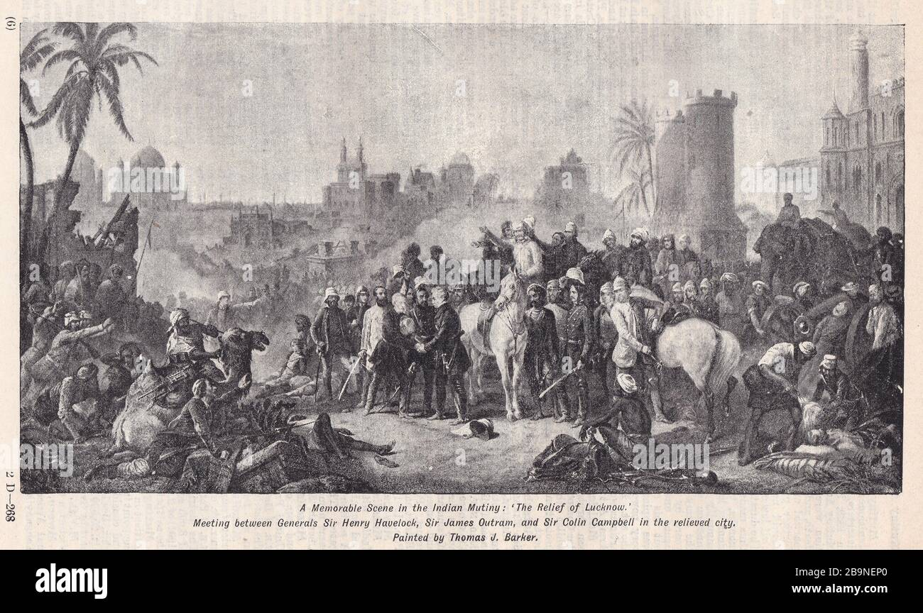 The Relief of Lucknow by Thomas J Barker - Meeting between Generals Sir Henry Havelock, Sir James Outram, and Sir Colin Campbell in the relieved City. Stock Photo