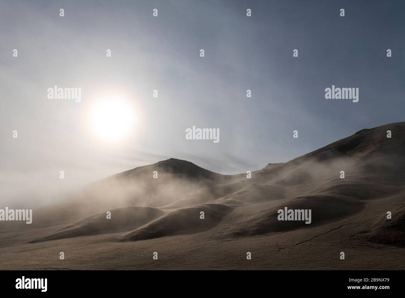 early morning landscapes in the Ak-Sai valley heading to the Kol Suu lake in Kyrgyzstan Stock Photo