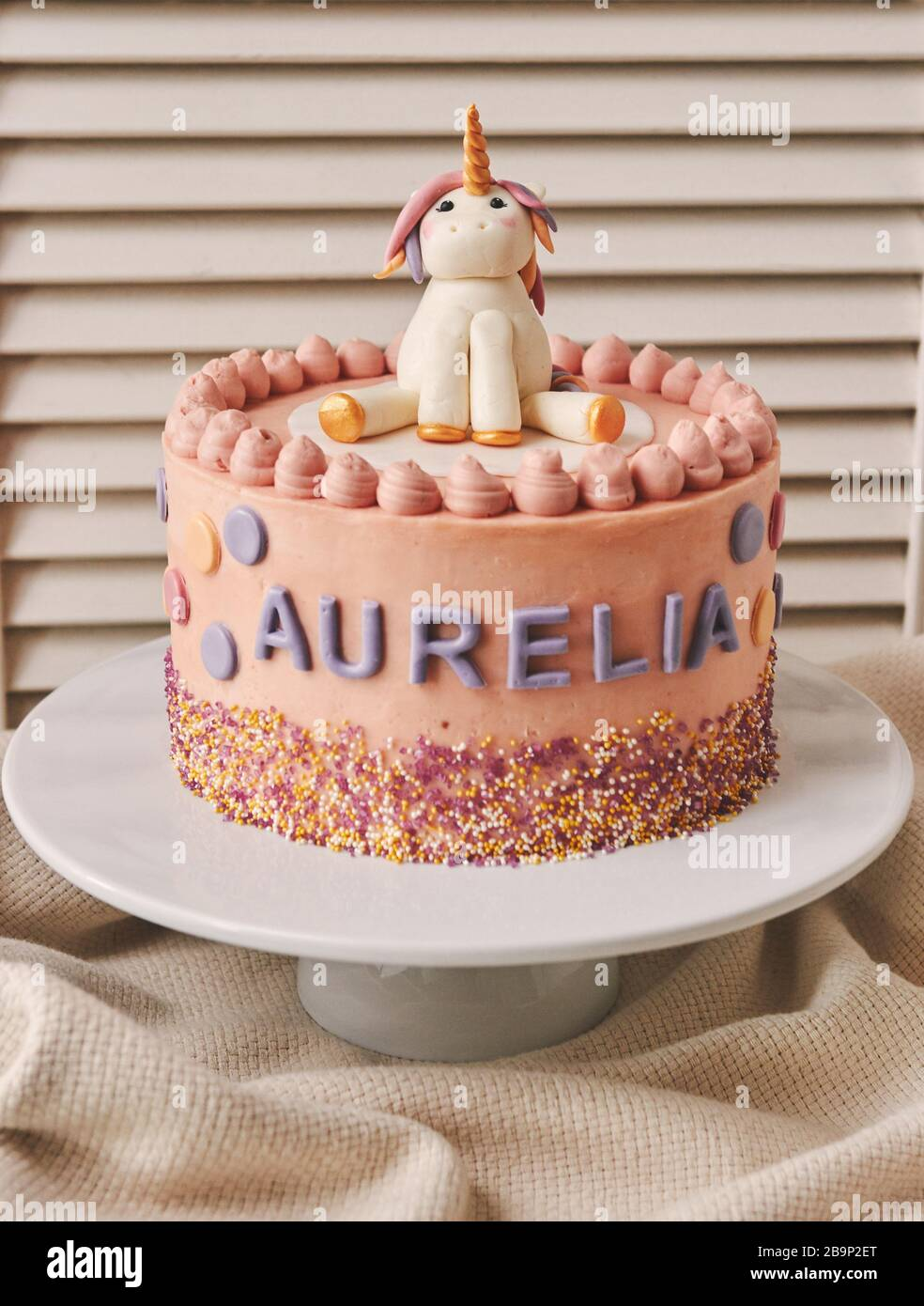 Super A Vertical Closeup Of A Birthday Cake With A Unicorn On The Top Personalised Birthday Cards Sponlily Jamesorg