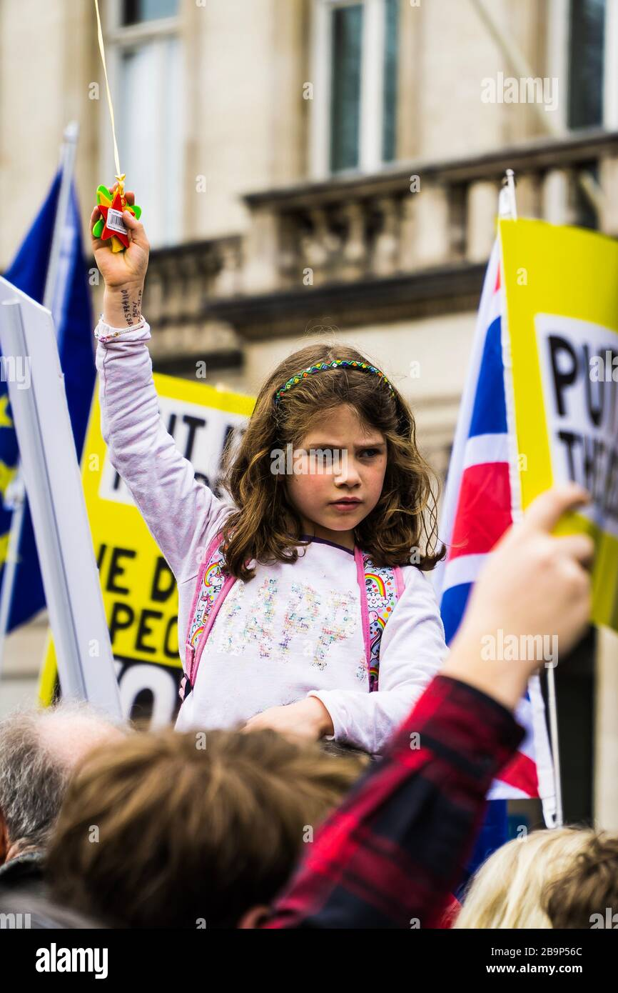 """Brexit protest march in London on 23/03/2019. """"Put It To The People"""" campaign say more than a million people joined the march. Stock Photo"""