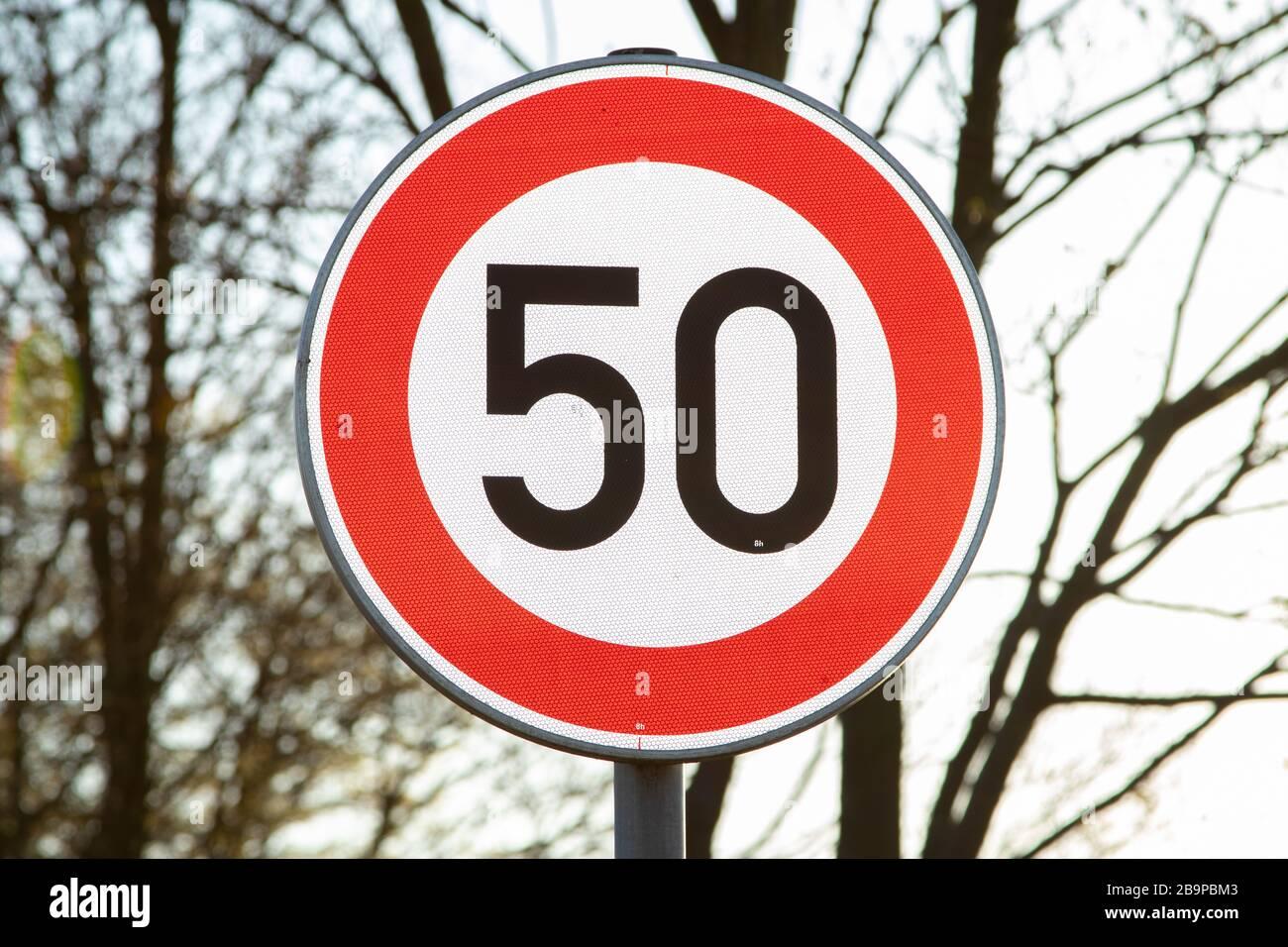 german speed limit sign 50 kmh Stock Photo