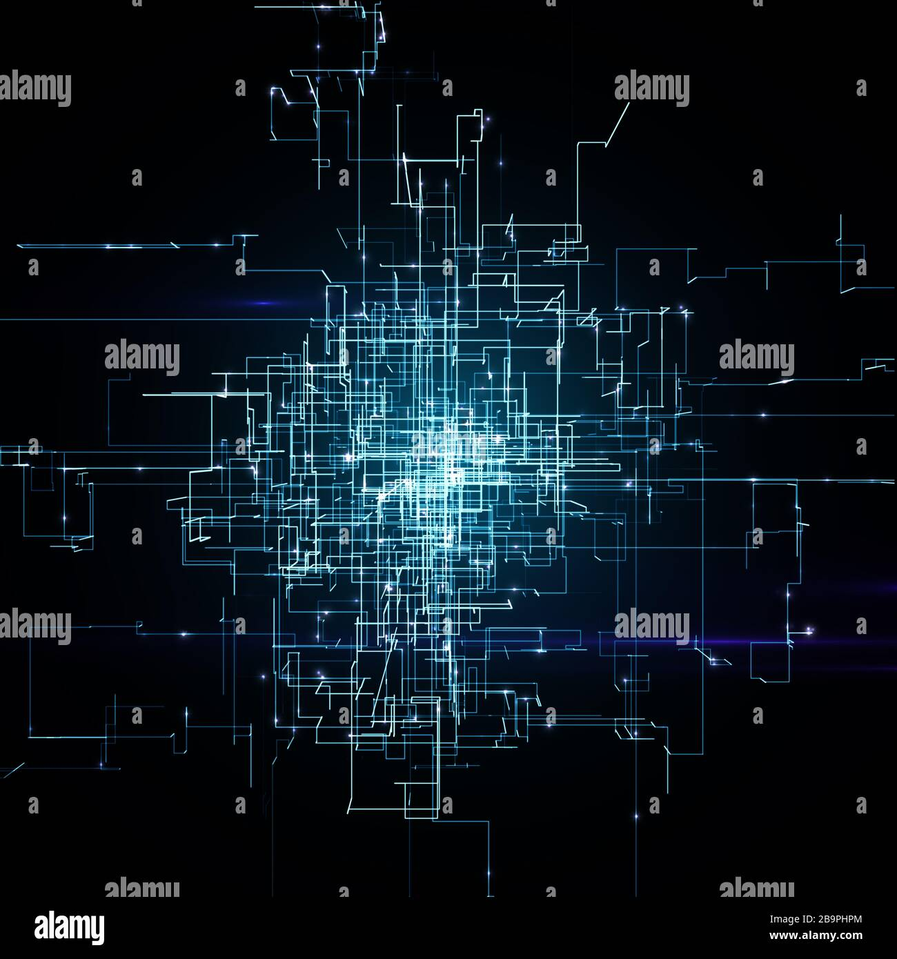 Digital Connectivity, Artificial Intelligence And Data Storage Concept. Glowing Electronic Circuit Board, Conductors And Neural Signals Stock Photo