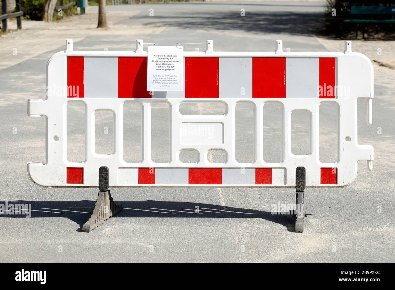Playground, barrier, sign of playground closed due to corona virus, forbidden to enter, Germany, Europe Stock Photo
