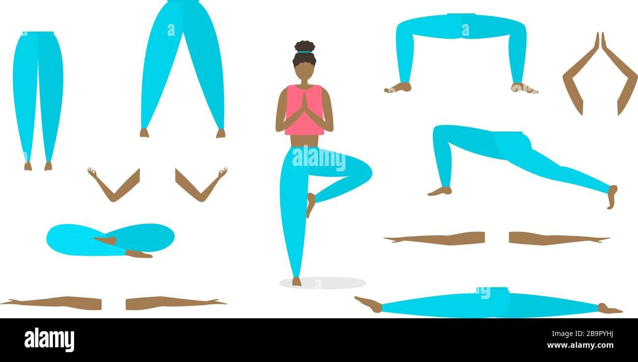 Vector yoga poses constructor. Arms, legs torso head Stock Vector