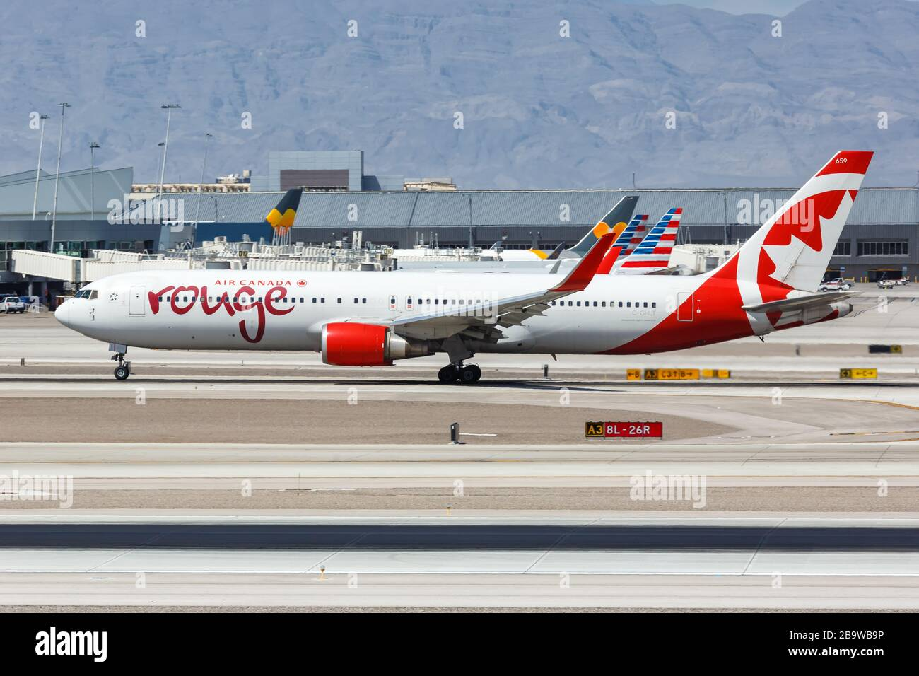 Las Vegas, Nevada – April 9, 2019: Air Canada Rouge Boeing 767-300ER airplane at Las Vegas airport (LAS) in Nevada. Boeing is an American aircraft man Stock Photo