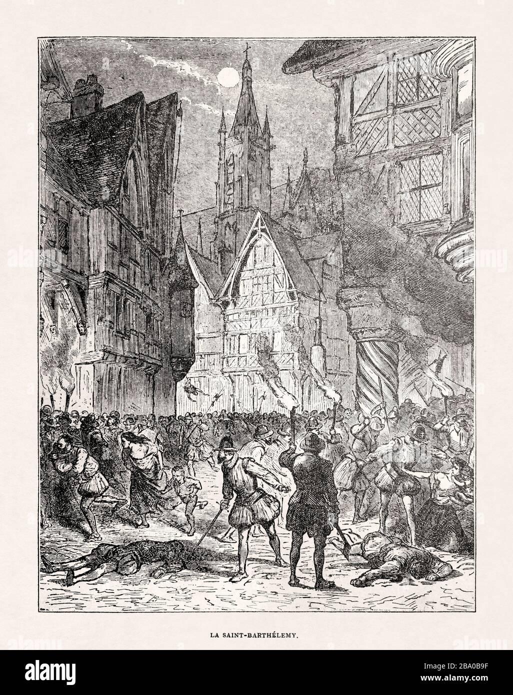 Black & white illustration of the St. Bartholomew's Day massacre. Stock Photo