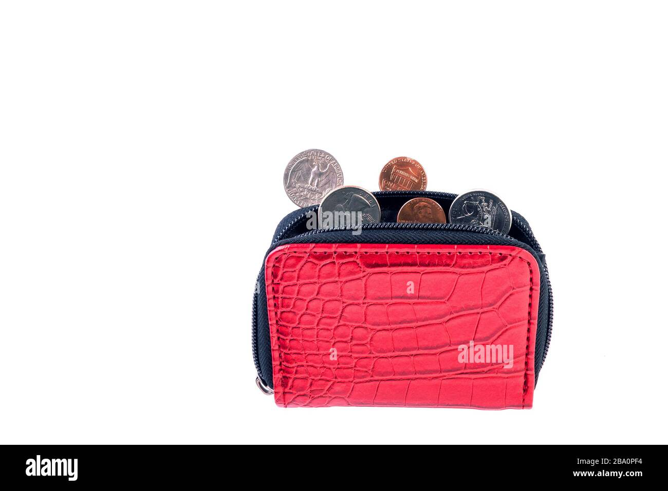 Open red leather pocket wallet with coins one cent and a quarter dollar nearby. Financial crisis, poverty, lack of money. Isolated on white background Stock Photo