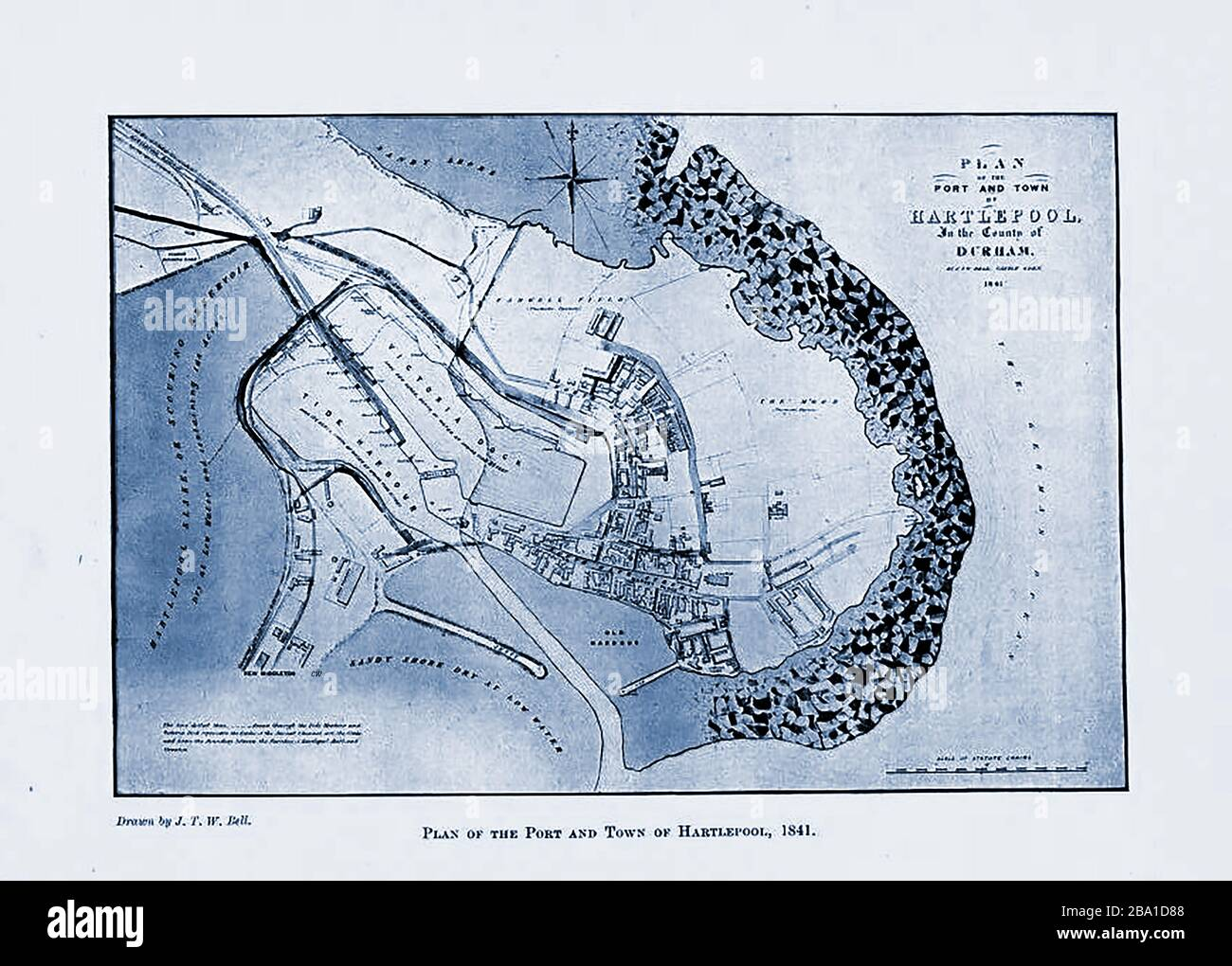An old map of the town of Hartlepool , Durham UK Stock Photo