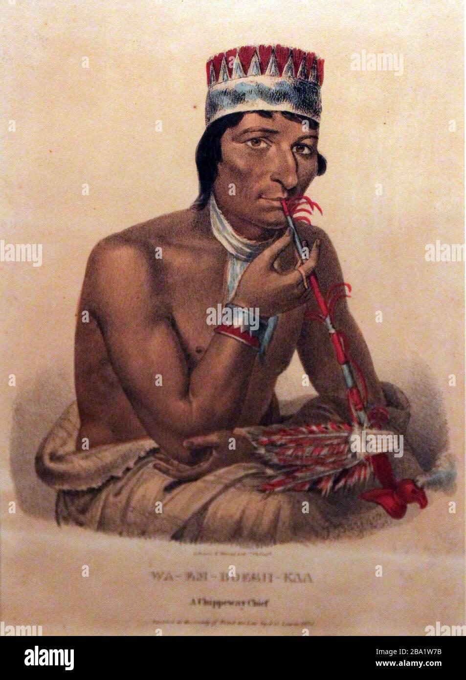 """English: Waemboeshkaa, Chippeway Chief, 1825 Deutsch: Waemboeshkaa, Häuptling der Chippeway, 1825; 1825date QS:P,+1825-00-00T00:00:00Z/9; "" Stock Photo"