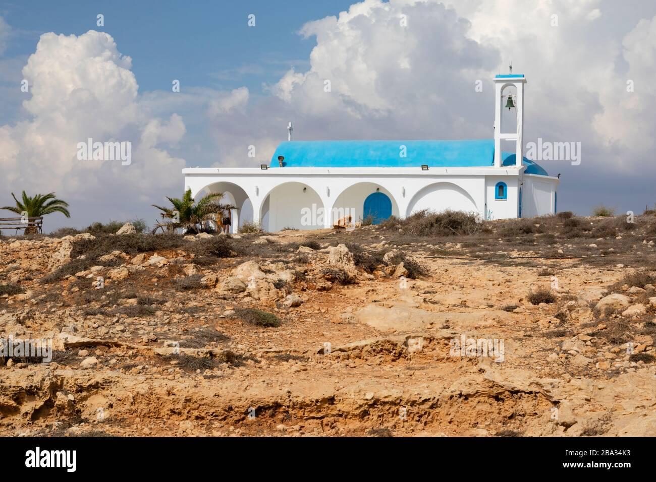 Agia Thekla church and cave chapel, Ayia Napa, Cyprus October 2018 Stock Photo