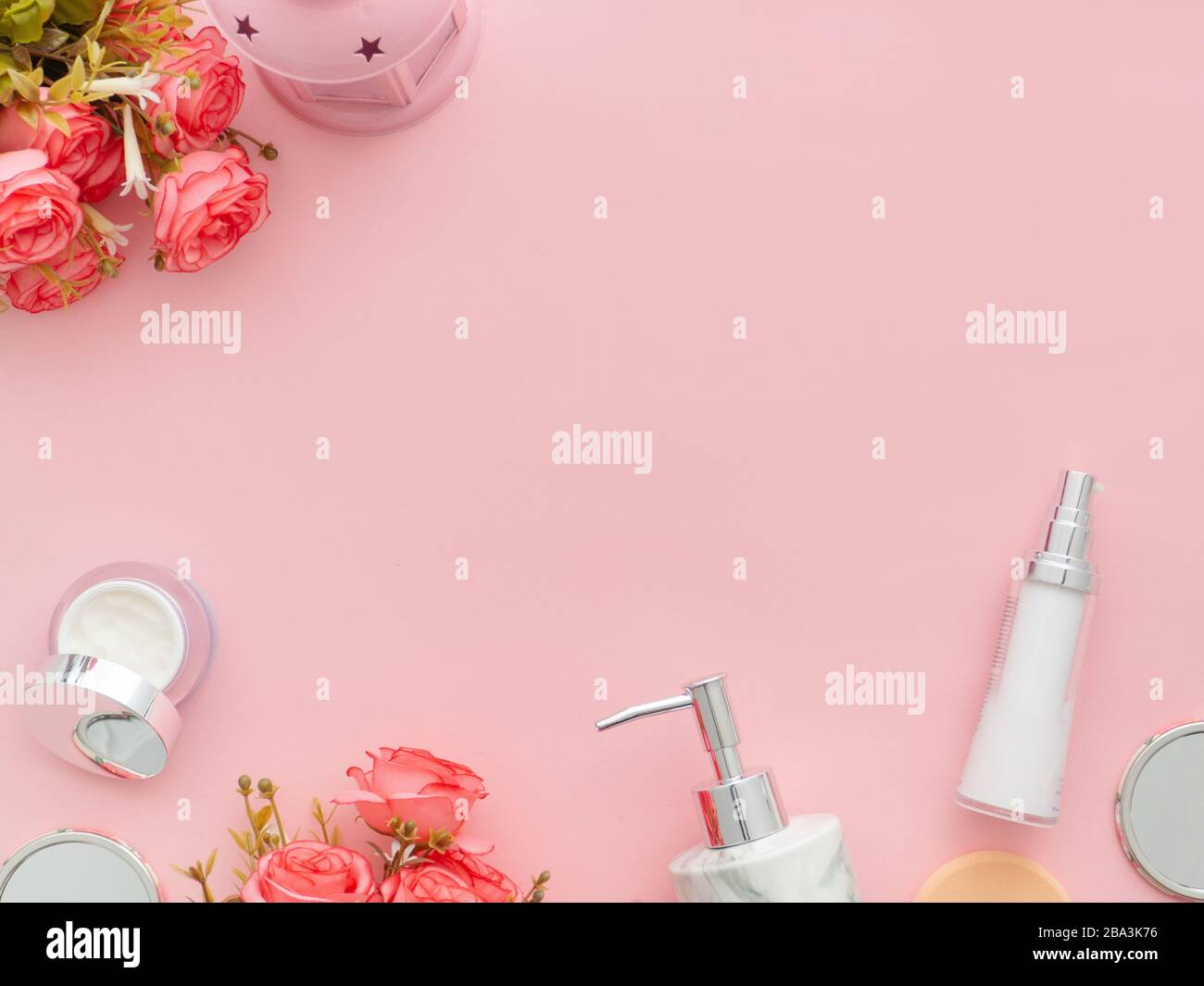 Beauty Background With Body Cosmetics Products Roses Flowers On Pastel Light Pink Desktop Background With Copy Space Modern Spring Skin Care Layout Stock Photo Alamy