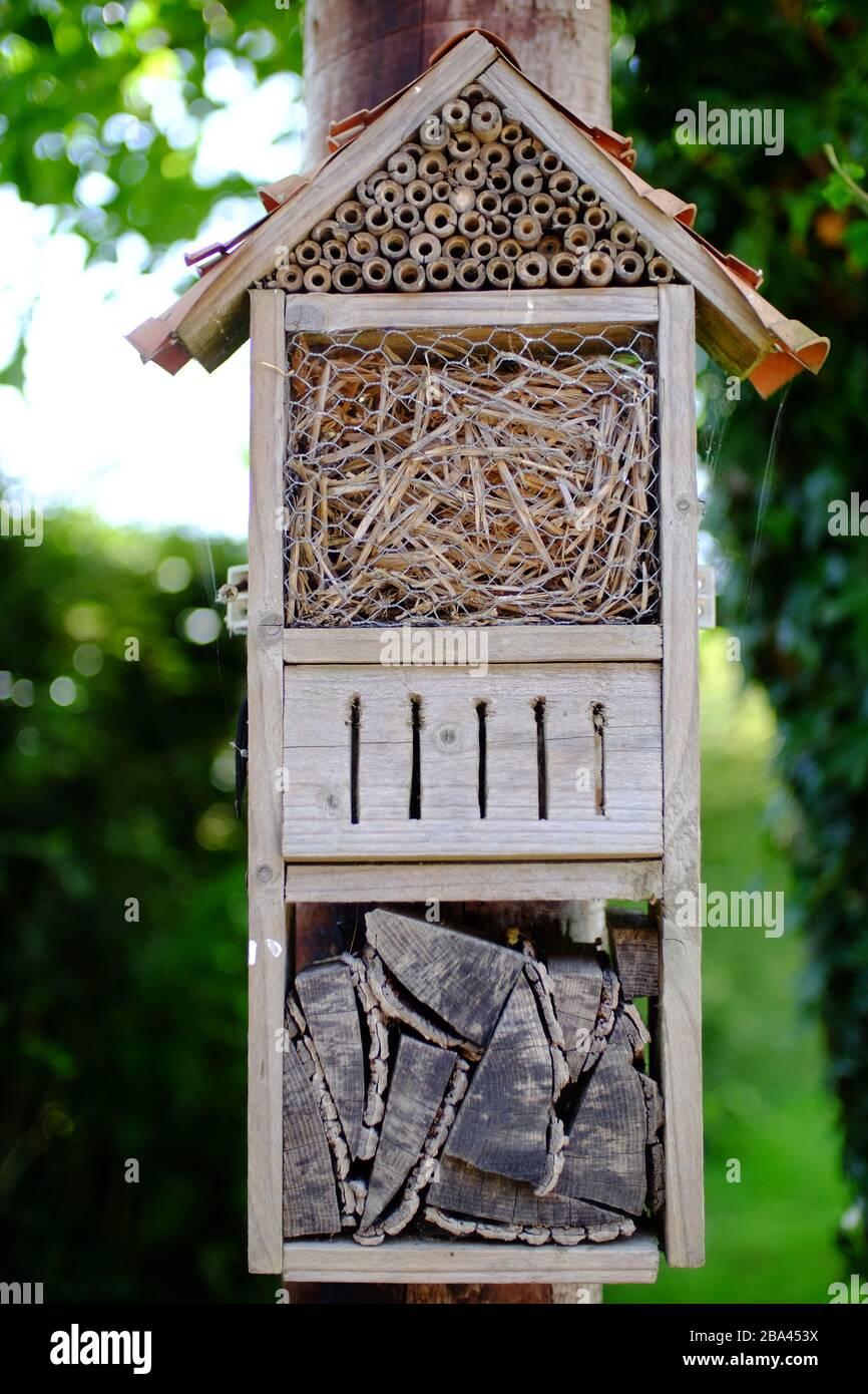 Home made bug house in a garden. Stock Photo