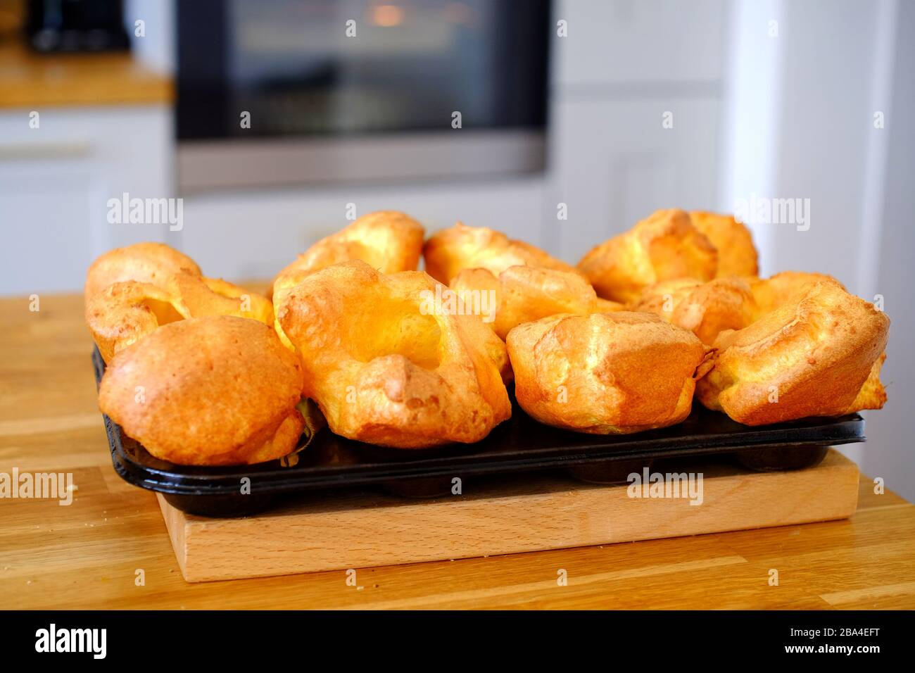Home made Yorkshire puddings fresh from the oven. UK Stock Photo