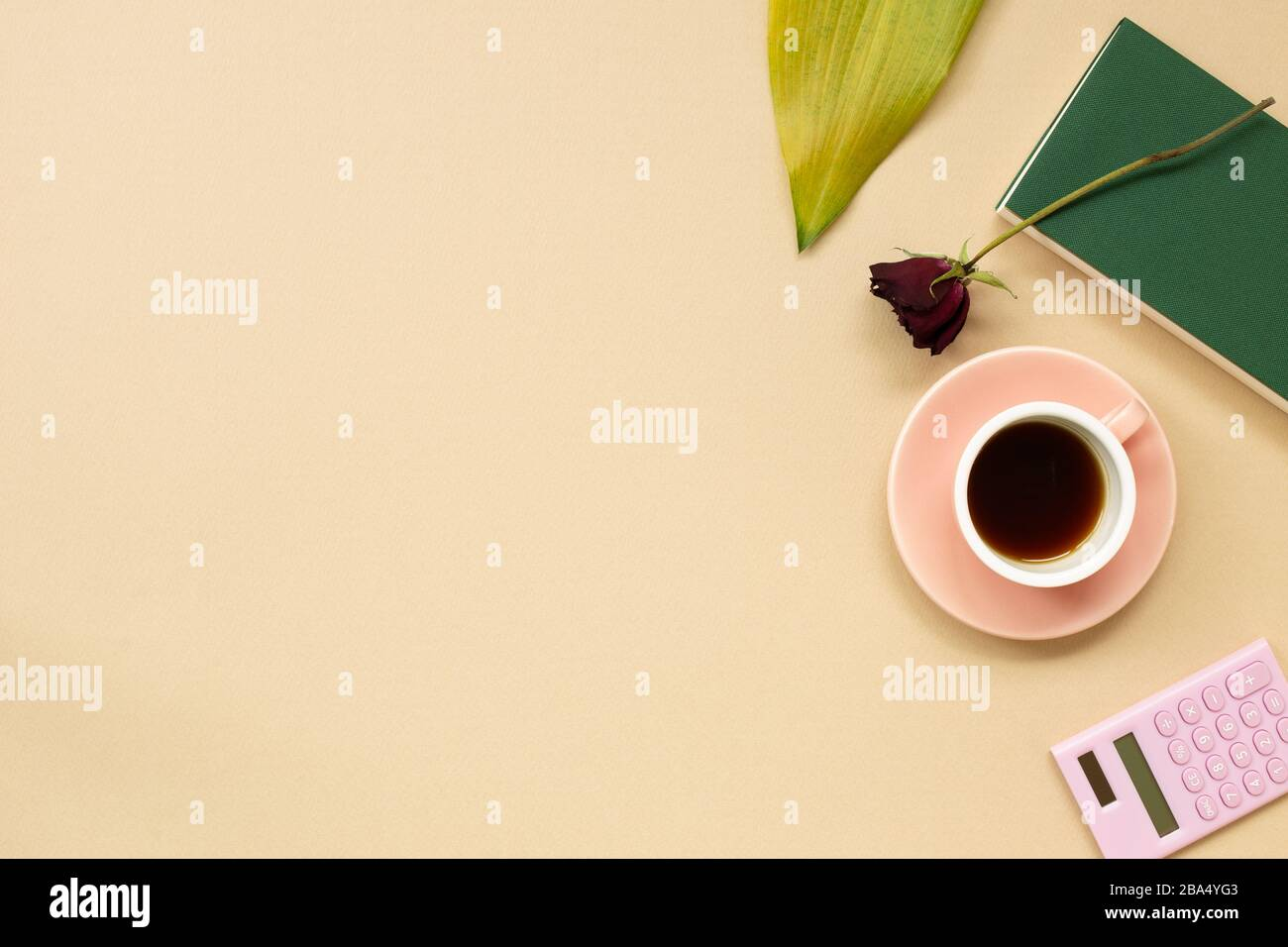 Work And Study Place Note Book Cup Of Coffee Calculator With Floral Decoration Flat Lay Top View Copy Space Stock Photo Alamy