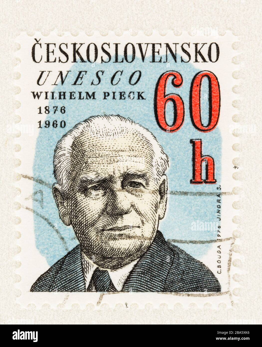 SEATTLE WASHINGTON - March 25, 2020: Close up of Czechoslovakia UNESCO postage stamp featuring President of DDR Wilhelm Pieck, issued in 1976 Stock Photo