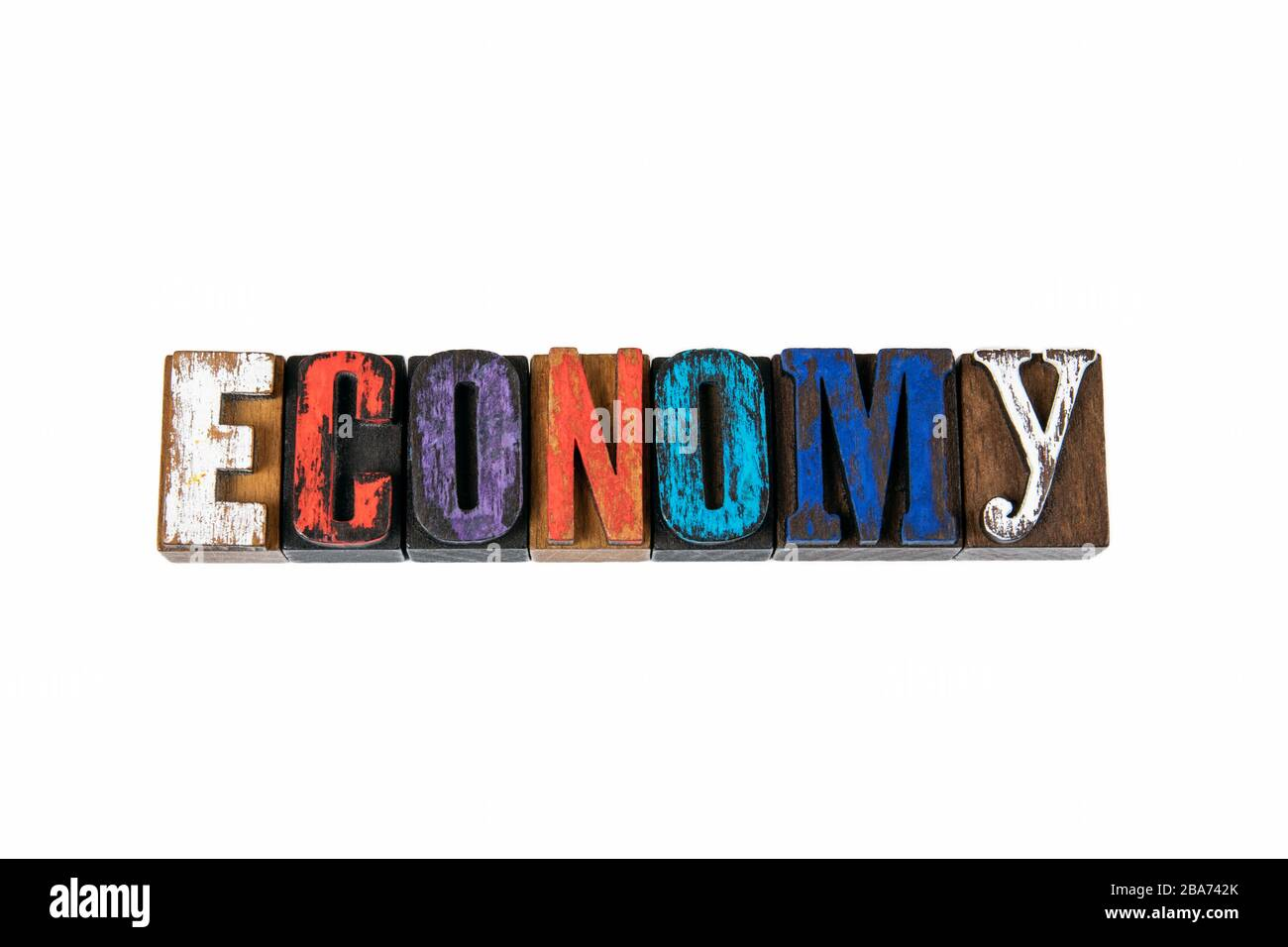 Economy. Development, Planning, Growth or Recession Concept. Colored wooden letters on a white background Stock Photo