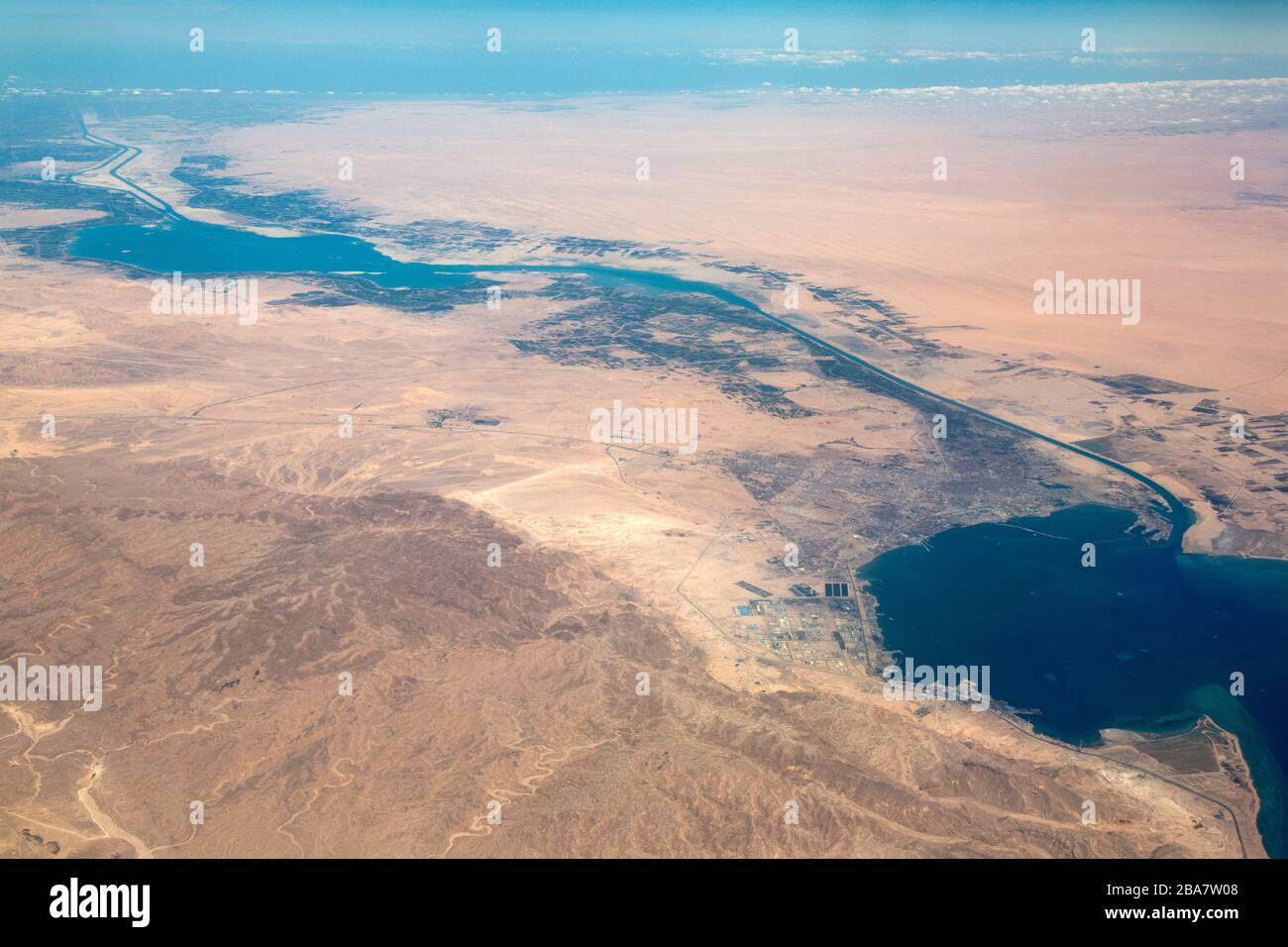 Aerial photograph of the Suez Canal. Stock Photo