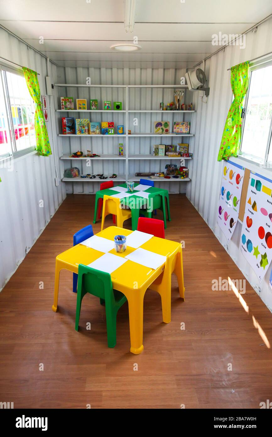 Johannesburg South Africa November 07 2011 Inside Interior Of Small Portable Preschool Classroom Made From A Shipping Container Stock Photo Alamy
