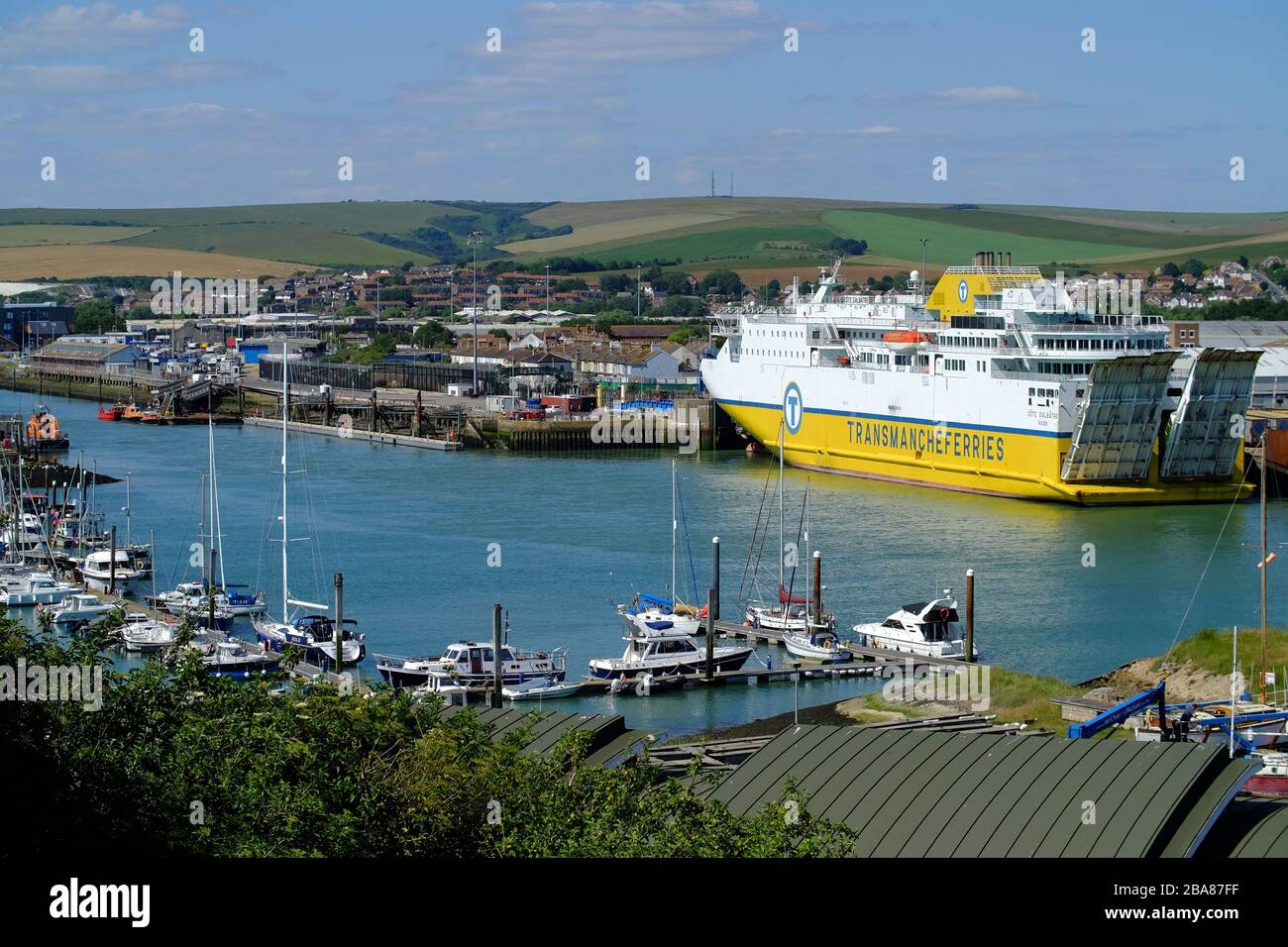 Transmanche cross-channel ferry docked in Newhaven, East Sussex, UK Stock Photo