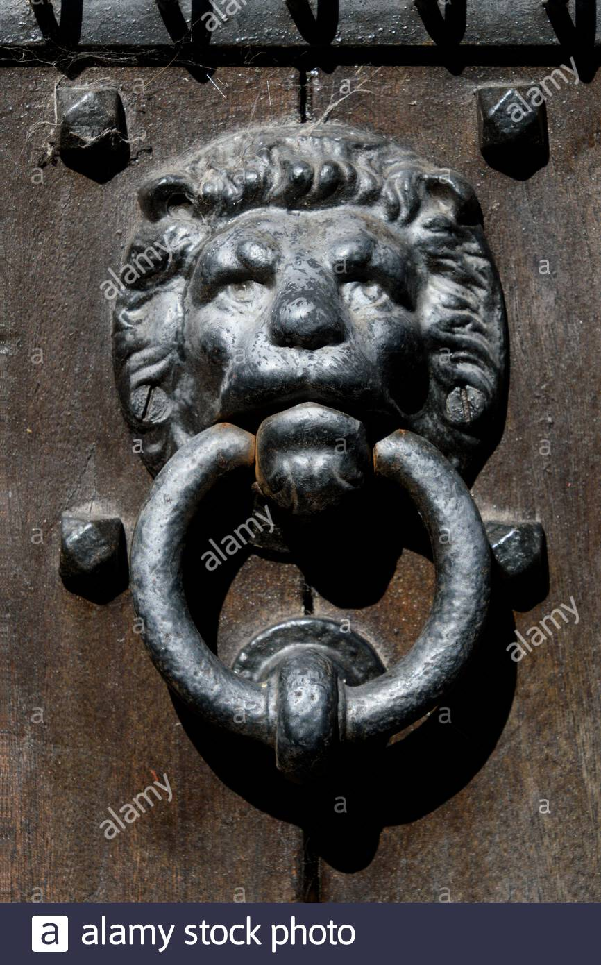 Close Up Of A Front Door Knocker In The Shape Of A Lions Head England Uk Stock Photo Alamy