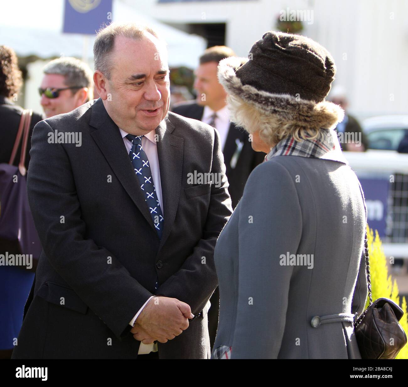 Scotland's First Minister Alex Salmond (left) with The Duchess of Cornwall Stock Photo