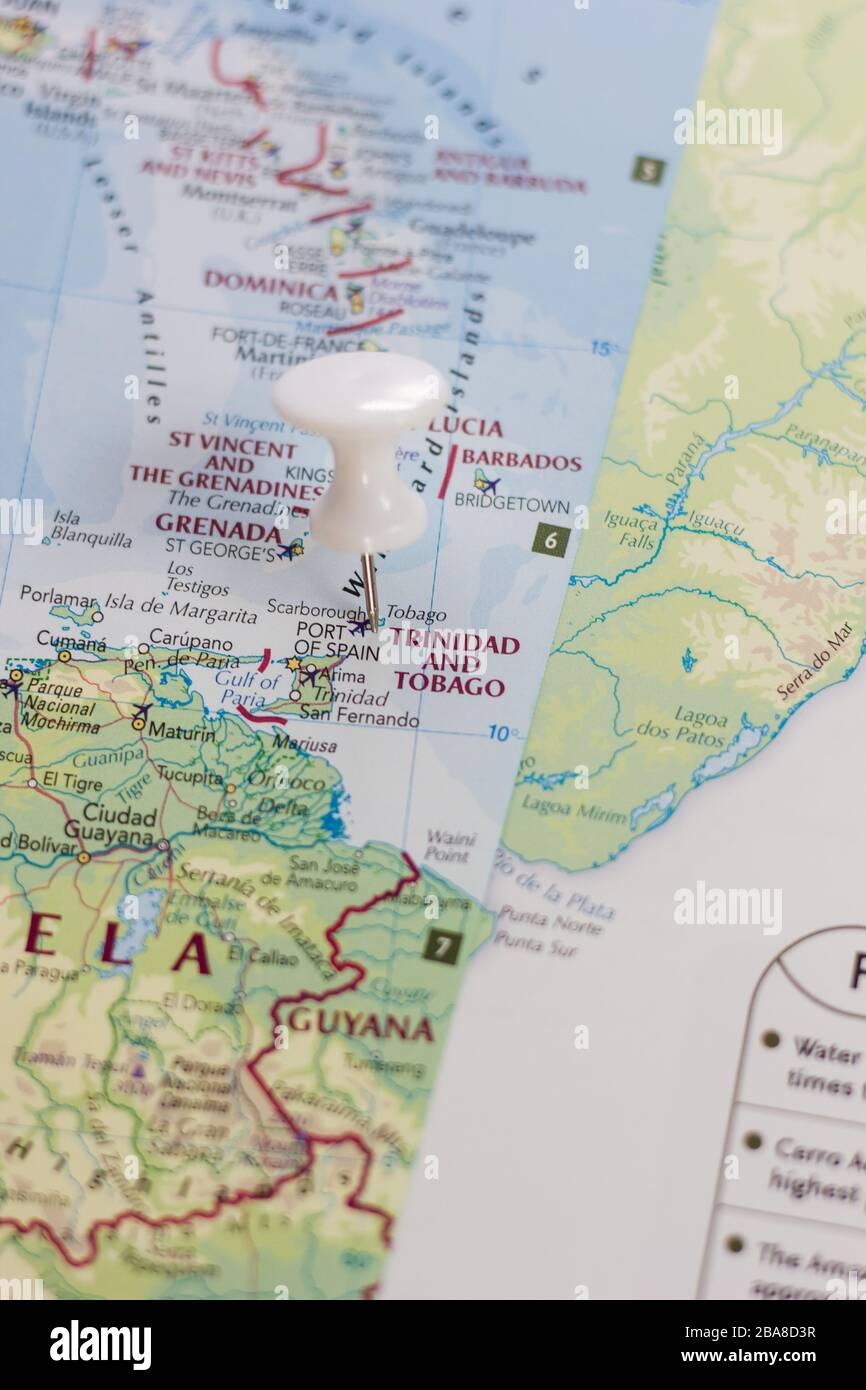 Picture of: Trinidad And Tobago On The Map Of The World Or Atlas Stock Photo Alamy