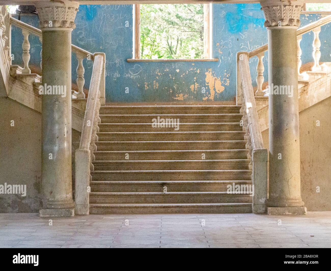 Abandoned Soviet Sanatoriums of Tskaltubo, Georgia. The decaying remains of a once-luxurious Soviet spa town. Stock Photo