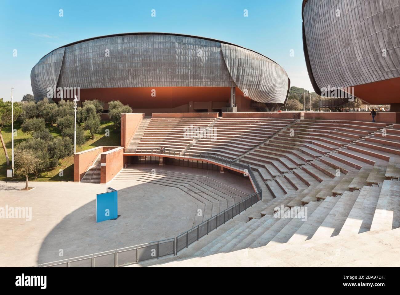 ROME, ITALY - MARCH 14, 2015: View from external of the Auditorium Parco della Musica, structure dedicated entirely to art. Architect, Renzo Piano Stock Photo