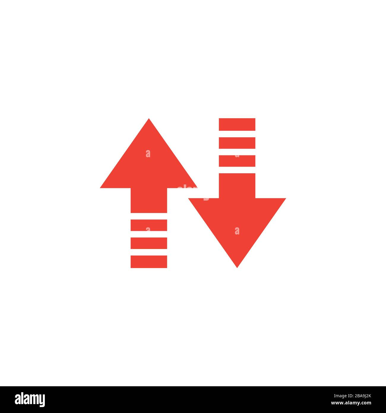Up-Down Arrow Red Icon On White Background. Red Flat Style Vector Illustration Stock Vector