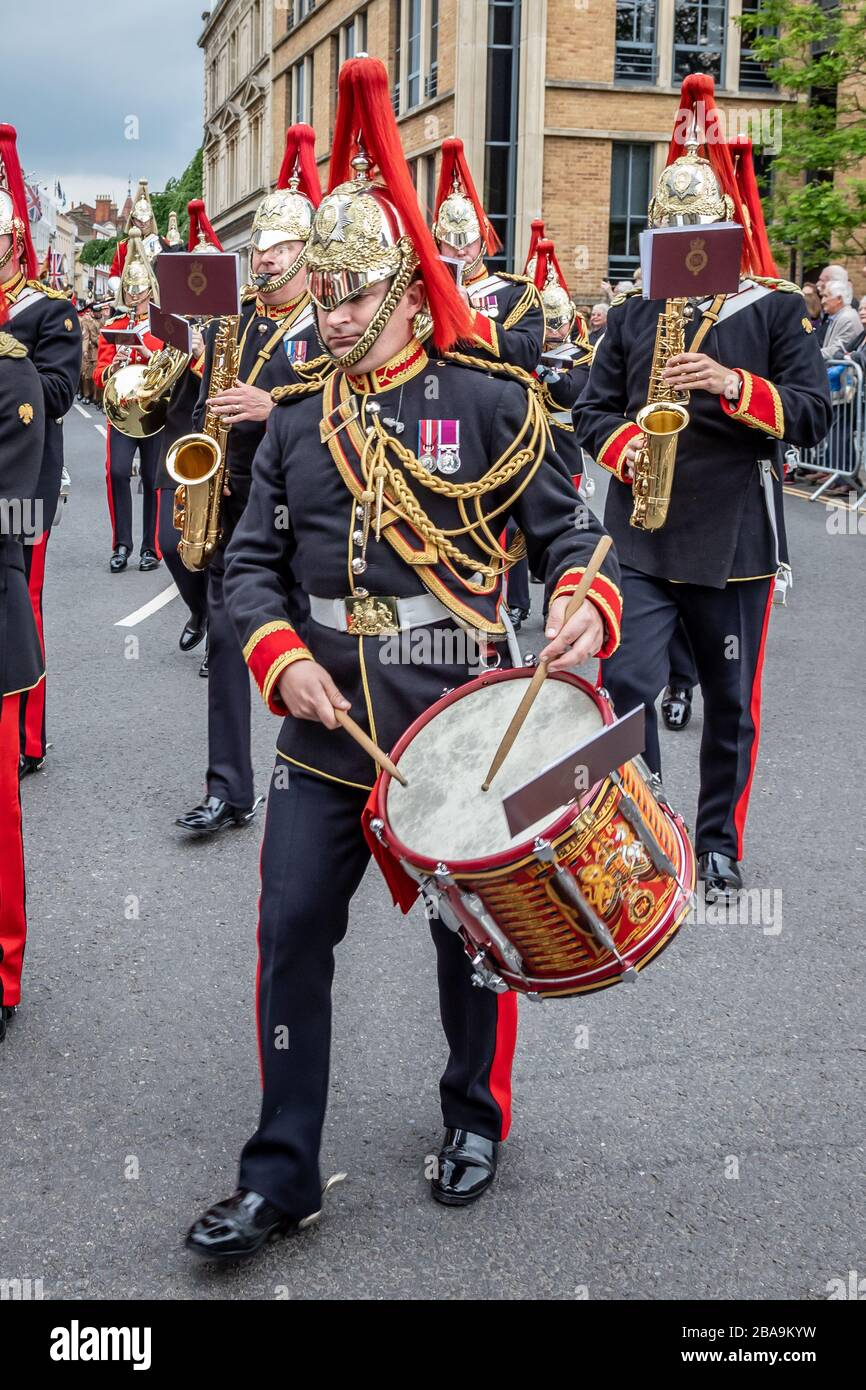 Side drummer of the Household Cavalry band during the Household Cavalry farewell to Windsor parade through Windosr, Berkshire, UK - May 18th 2019 Stock Photo