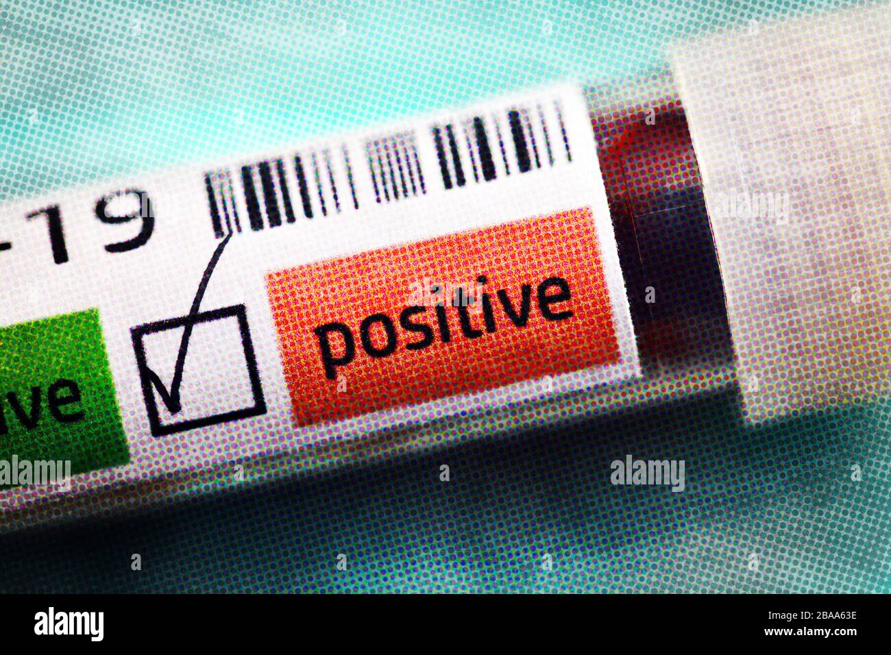 Covid blood sample tube 19 with positive Covid 19 findings, symbolic photo Coronavirus, Covid-19-Blutentnahmeröhrchen mit positivem Covid-19-Befund, S Stock Photo