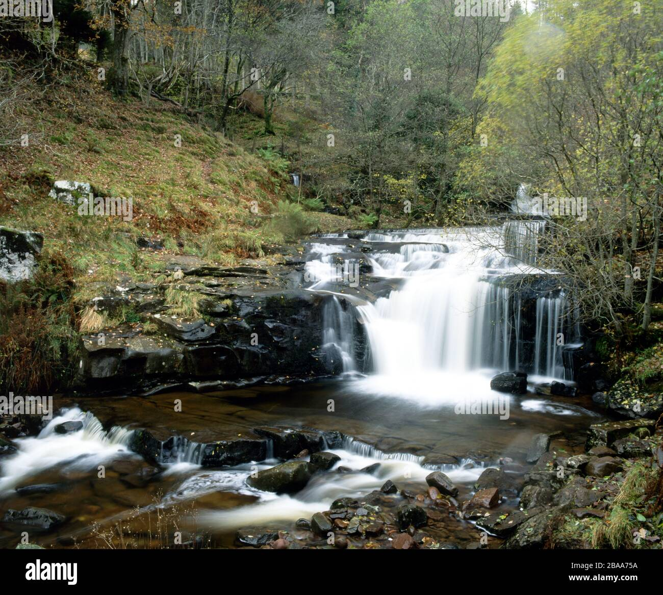 Waterfall on River Caerfanell, Blaen Y Glyn, Brecon Beacons National Park, Powys, Wales. Stock Photo